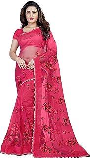 Skyview Fashion Women's Wear Designer Indian Ethnic Wear Sari Soft Net Saree with Work (Pink)