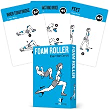 Foam Roller Exercise Cards, Set of 62 - Guided Stretching & Recovery Workout for Home or Gym :: Illustrated Fitness Flash Cards with 50 Exercises, for Men & Women :: Large, Durable, Waterproof