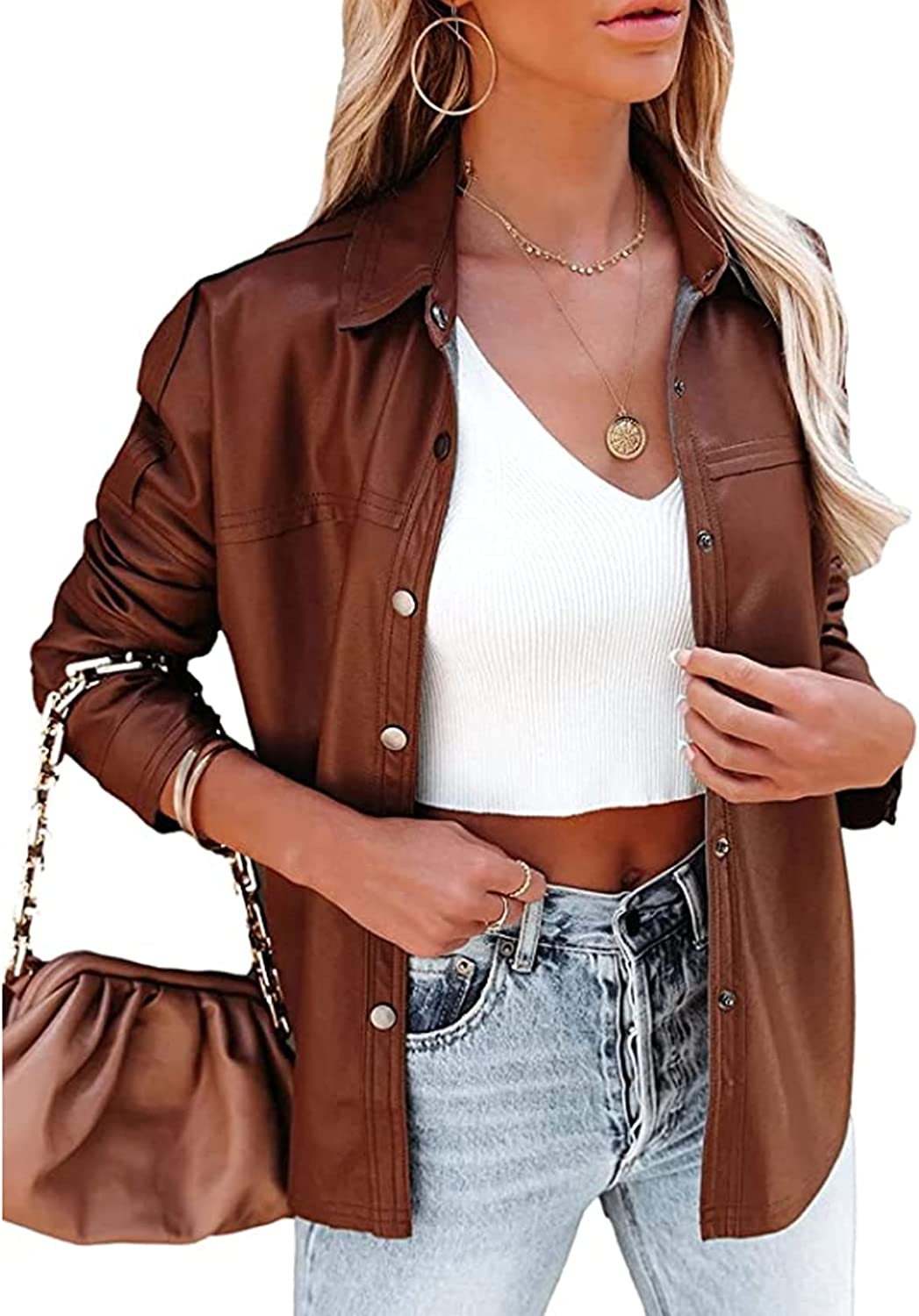 CXINS Womens PU Leather Jacket Lapel Collar Buttons Down Long Sleeve Loose Casual Faux Suede Blazer Coat Shacket