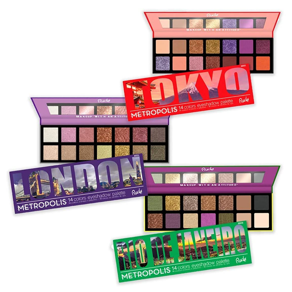 干渉襲撃ガイドライン(3 Pack) RUDE Metropolis 14 Color Eyeshadow Palette (BUNDLE) (並行輸入品)