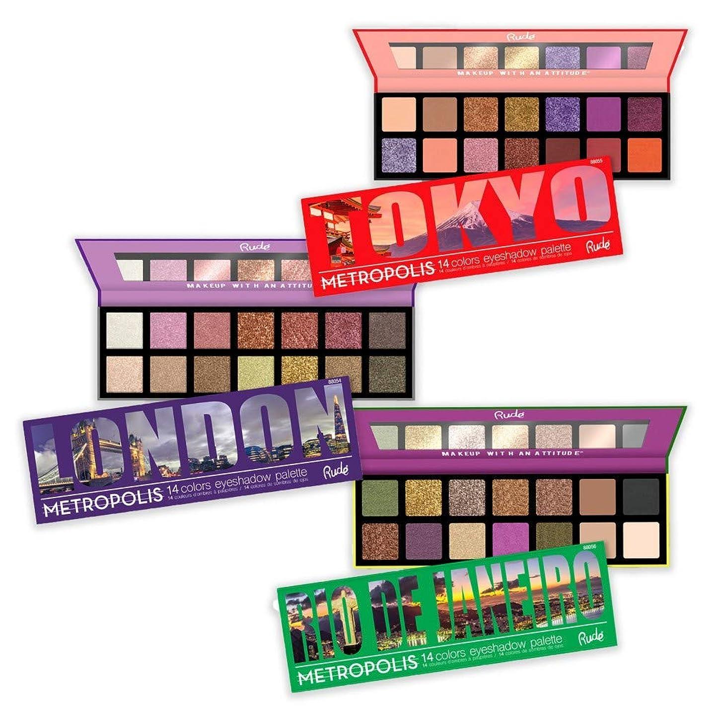 置くためにパックオーバードロー急行する(3 Pack) RUDE Metropolis 14 Color Eyeshadow Palette (BUNDLE) (並行輸入品)