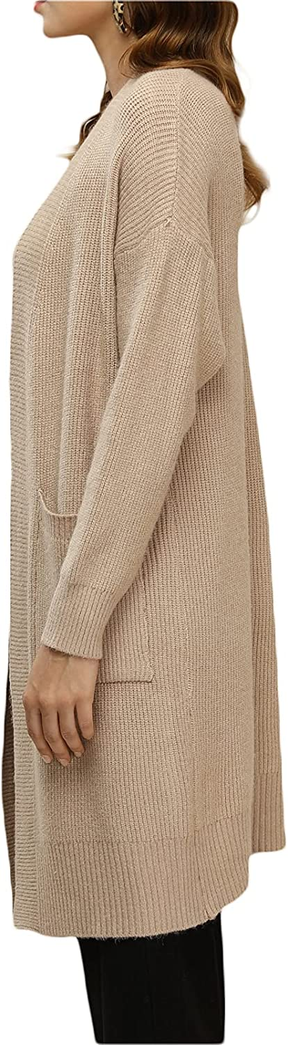 Women Open Front Cardigan Sweaters Pockets Long Sleeve Shrugs Solid Color Long Knited Cardigan Outerwear
