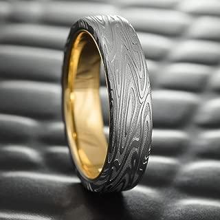 Flat Damascus Steel Men's Wedding Band with 14K Gold Liner   ORGANIC WOOD