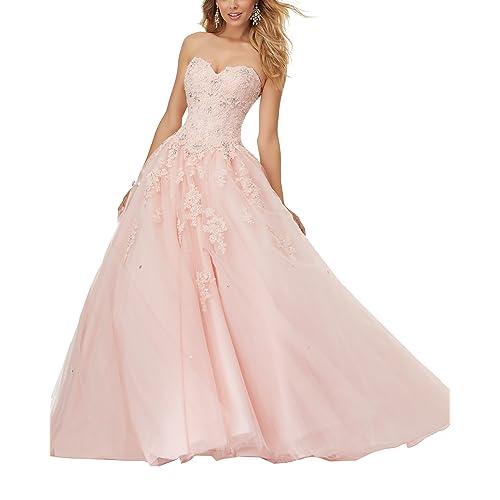 4bd82a4d0073 Eldecey Women's Lace Applique Floor Length Tulle Ball Gown Quinceanera Dress