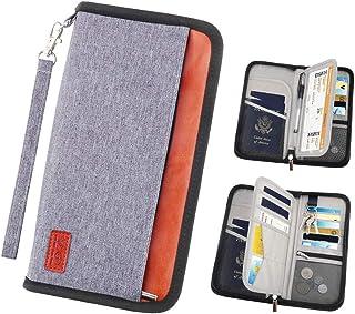 DegGod Family Travel Passport Wallet, RFID Blocking Document Organizer Bag Waterproof Credit Cards Holder with Zipper for Women & Men(Grey)