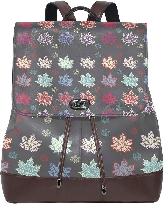 Fashion Shoulder Bag Rucksack PU Leather Women Girls Ladies Backpack Travel Bag Autumn Maple Leaf Black