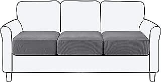 subrtex Spandex Elastic Couch Cushion Covers Stretch Chair Slipcover Furniture Protector for Sofa Seat Cushion (3 Piece, Sofa Cushion, Light Gray)