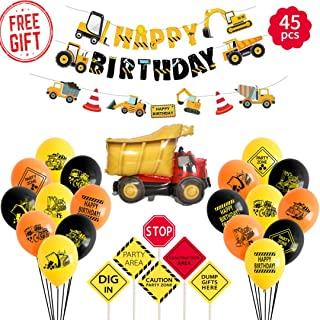 Nikozo Construction Birthday Party Supplies Dump Truck Party Decorations Kits Set for Kids Birthday Party 47 Pack,Dinosaur Balloons