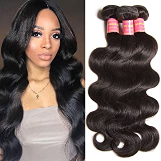 YIROO Malaysian Virgin Human Hair Weft, Body Wave 3 Bundles Mixed Length 95-100g/PC Unprocessed Remy Hair Natural Black Color (8 10 12 inch)