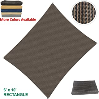 Eden's Decor Curved Rectangular UV-Blocking Sun Shade Sail for Outdoor Patio & Swimming Pool (6' X 10', Brown)