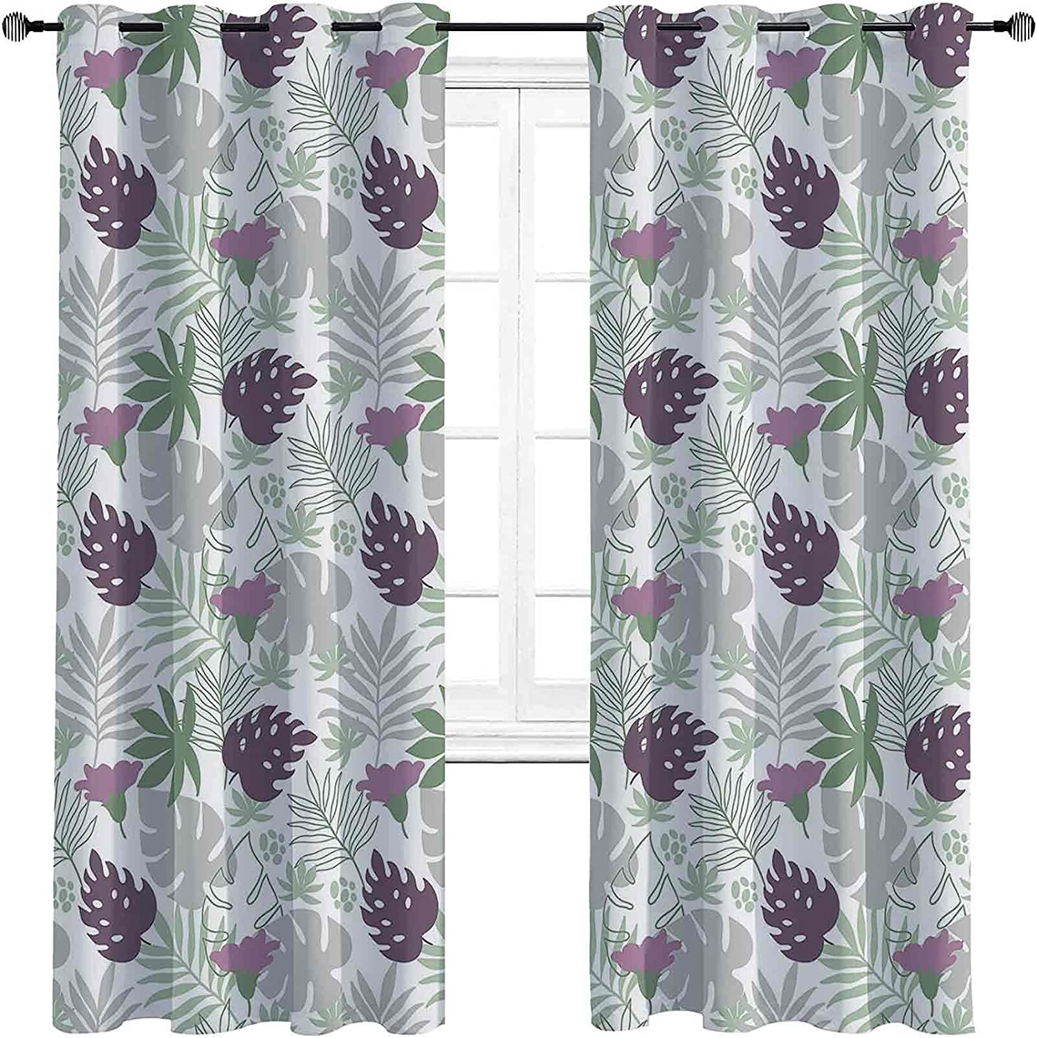 Leaves Shading Insulated Curtain Tropical Foliage Super beauty product restock quality top! E excellence Silhouettes