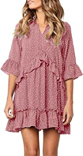 699b8729602 onlypuff Ruffle Polka Dot Dresses for Women Swing Tunic Tops Casual Loose  Fitting V Neck Sleeveless