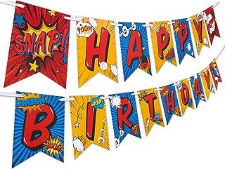 Superhero Birthday Party Supplies Banner by Aliza   Baby Boy Toddler Kids Birthday Super Hero Decorations – Huge 8-Foot Su...