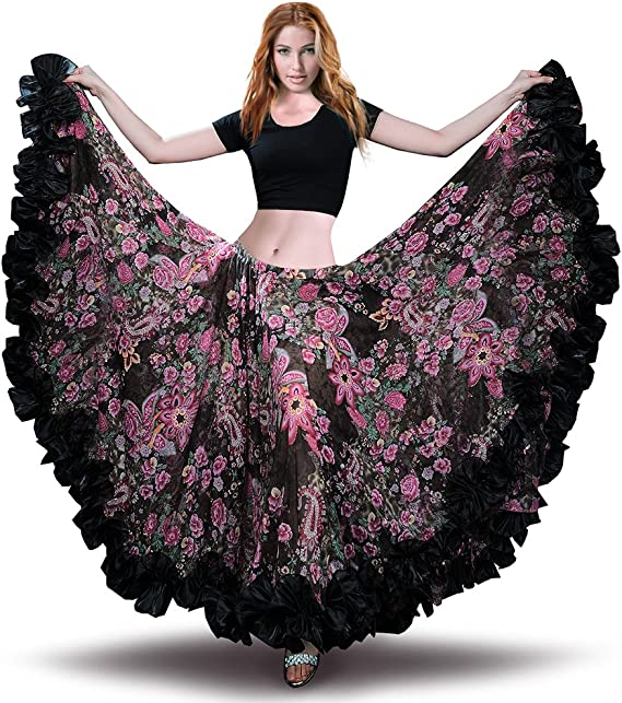 Details about  /Ankle length Belly Dance Flared skirt Spinning skirt TribalDance Plus Size S30-2