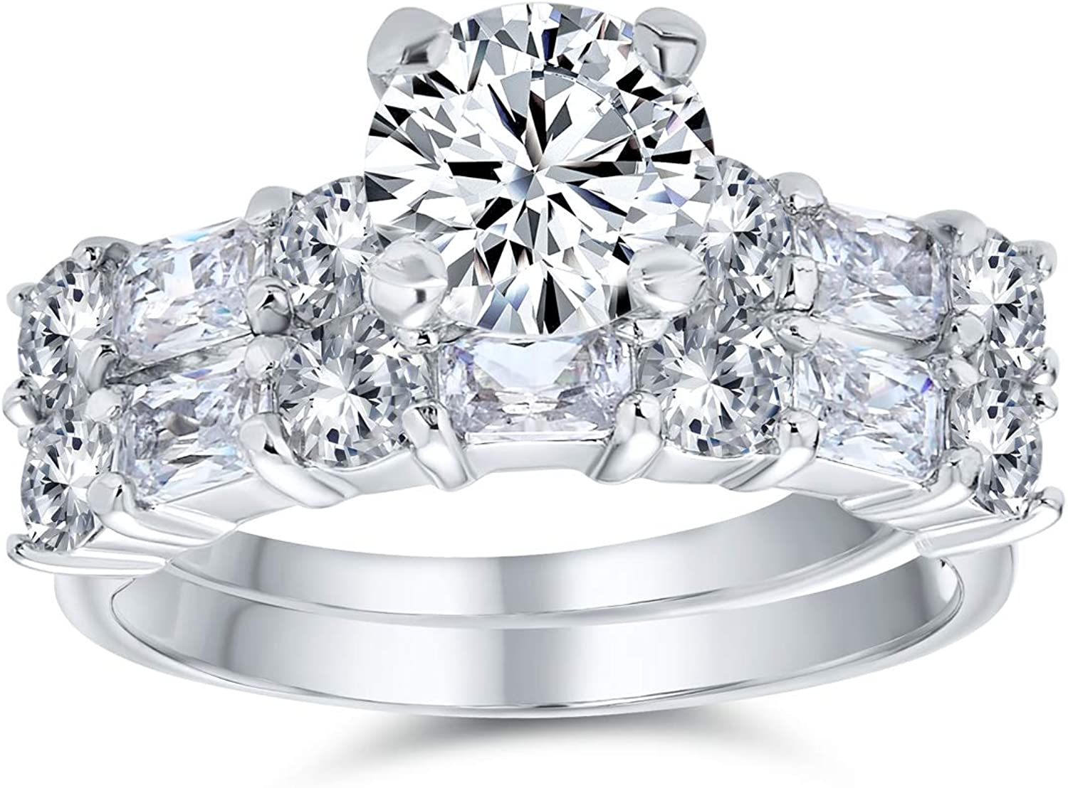 half Ranking integrated 1st place Deco Style 2CT Round Solitaire AAA Baguet Wedding CZ Anniversary