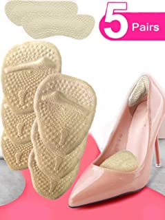 Heel Cushion Inserts (5 Pairs: 10 Pieces) - Ball of Foot Cushions -Shoe Inserts –heel pads- Metatarsal Pads for Women- High Heel Inserts for Women –shoes too big - for Pain Relief from Neuroma, Bunion