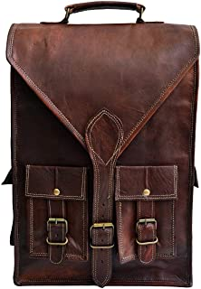 "Jaald Convertible Leather 15.6"" Laptop Bag Backpack Messenger Bag Office Briefcase"