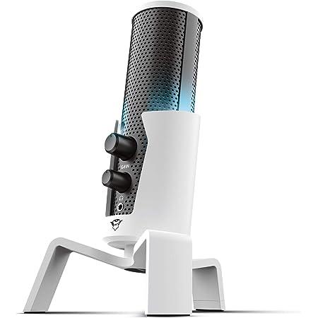 Trust Gaming 4-in-1 Microfono Streaming per PlayStation 5 (PS5) GXT 258W Fyru - USB Microfono a Condensatore per Studio e Registrazione Professionale, Canto, Podcast, Streaming, Voce, YouTube, Twitch