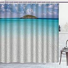 BLSYP cortina de la ducha No Chemical Odor Shower Curtain/Ocean,Paradise Beach in Caribbean Water with A Small Island Landscape Dream Away Art Print Decorative,Cream Turquoise / 72-Inch Shower Curtain