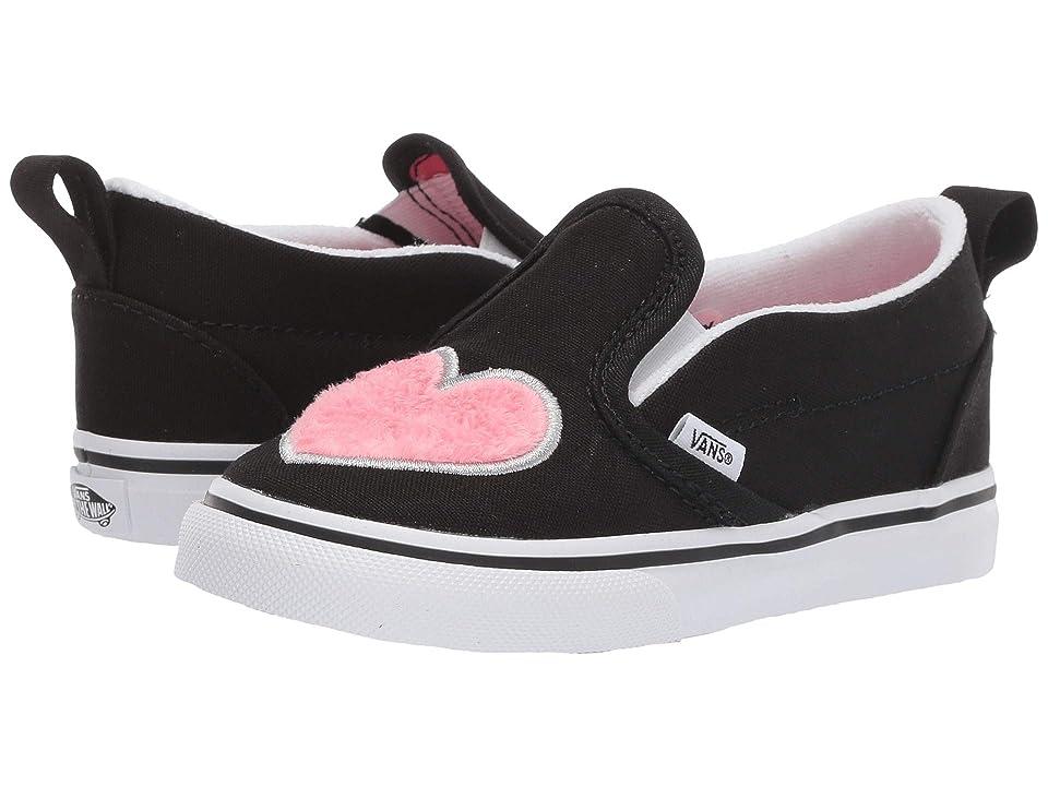 Vans Kids Slip-On V (Toddler) ((Fur Heart) Strawberry Pink/Black) Girls Shoes
