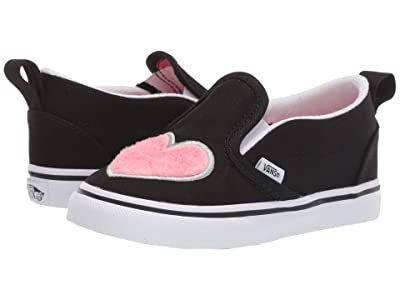 Vans Kids Slip-On V (Toddler) ((Fur Heart) Strawberry Pink/Black) Girls Shoes