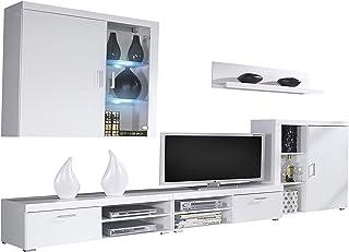 SelectionHome Mueble Comedor Salon Moderno con Led Acabado en Blanco Brillo Lacado y Blanco Mate Medidas: 290 cm (Ancho...