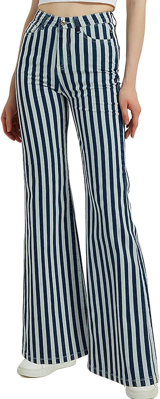 ThCreasa Womens Stripe High Waisted Bell Bottom Jeans Stretchy Wide Leg Denim Flare Pants
