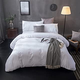 Merryfeel Cotton Duvet Cover Set,100% Cotton Embroidery Lace with Pintuck Duvet Cover Set- White - King Bedding Set 3 Pieces