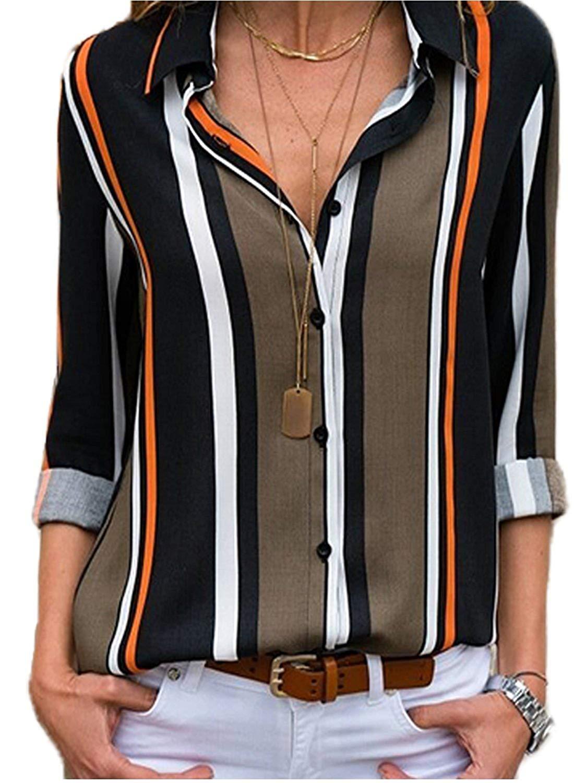 MISSLOOK 女士条纹系扣衬衫卷袖上衣 V 领休闲工作衬衫