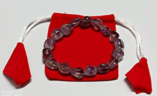WholesaleGemShop - Brazil Amethyst Crystal Tumbled Stretch Bracelet + Charging Heart & Pyramid Included,with Pouch Freefor...