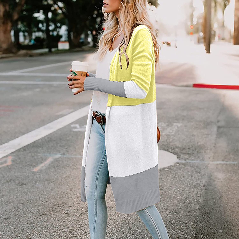 SERYU Women's patchwork color cardigan Casual long split knit sweater coat