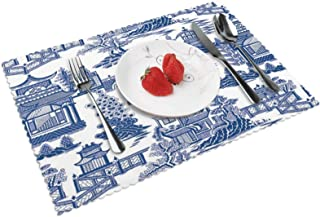 Ming China - Blue and White Chinoiserie Placemats Heat Insulation Non-Slip Washable Lunching Mat Rectangle Plate Pads for ...