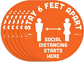 """BeSafe Messaging""""Stay 6 Feet Apart"""", 6 Pack - 12"""" Round, Repositionable Vinyl UL 410 Certified Anti-Slip Floor Sign, Comme..."""
