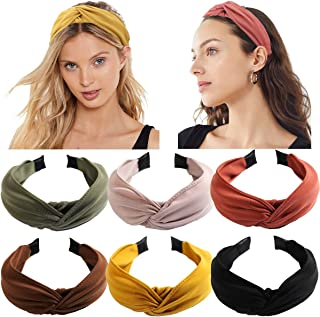 6PCS Top Knot Headband for Women Wide Knotted Headbands Twist Turban Headwrap Elastic Hair Band Fashion Hair Accessories for Women Girls Children