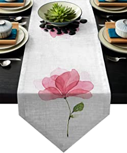 LeoHome Cotton Linen Table Runner Triangle Trim Design, Spring Theme Pink Blooming Bouquet, Luxury Table Runners for Wedding Party Banquet Dinner Decor 13 x 90 Inches
