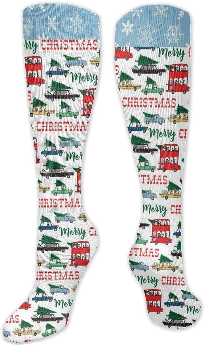 Christmas Car Knee High Socks Leg Warmer Dresses Long Boot Stockings For Womens Cosplay Daily Wear