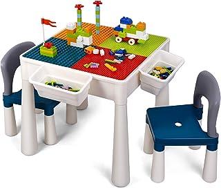 comprar comparacion amzdeal Juego de Mesa y 2 Sillas Infantiles Mesa de Bloques para Niños Mesa de Actividades Multiusos con Bloques de partíc...