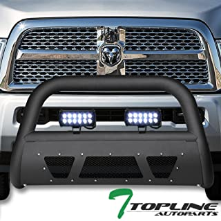 Topline Autopart Matte Black Studded Mesh Bull Bar Brush Push Front Bumper Grill Grille Guard With Skid Plate + 36W CREE LED Fog Lights For 10/11-18 Dodge Ram 2500/3500