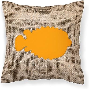 Caroline's Treasures BB1016-BL-OR-PW1818 Fish - Blowfish Burlap and Orange Canvas Fabric Decorative Pillow BB1016, 18H x1
