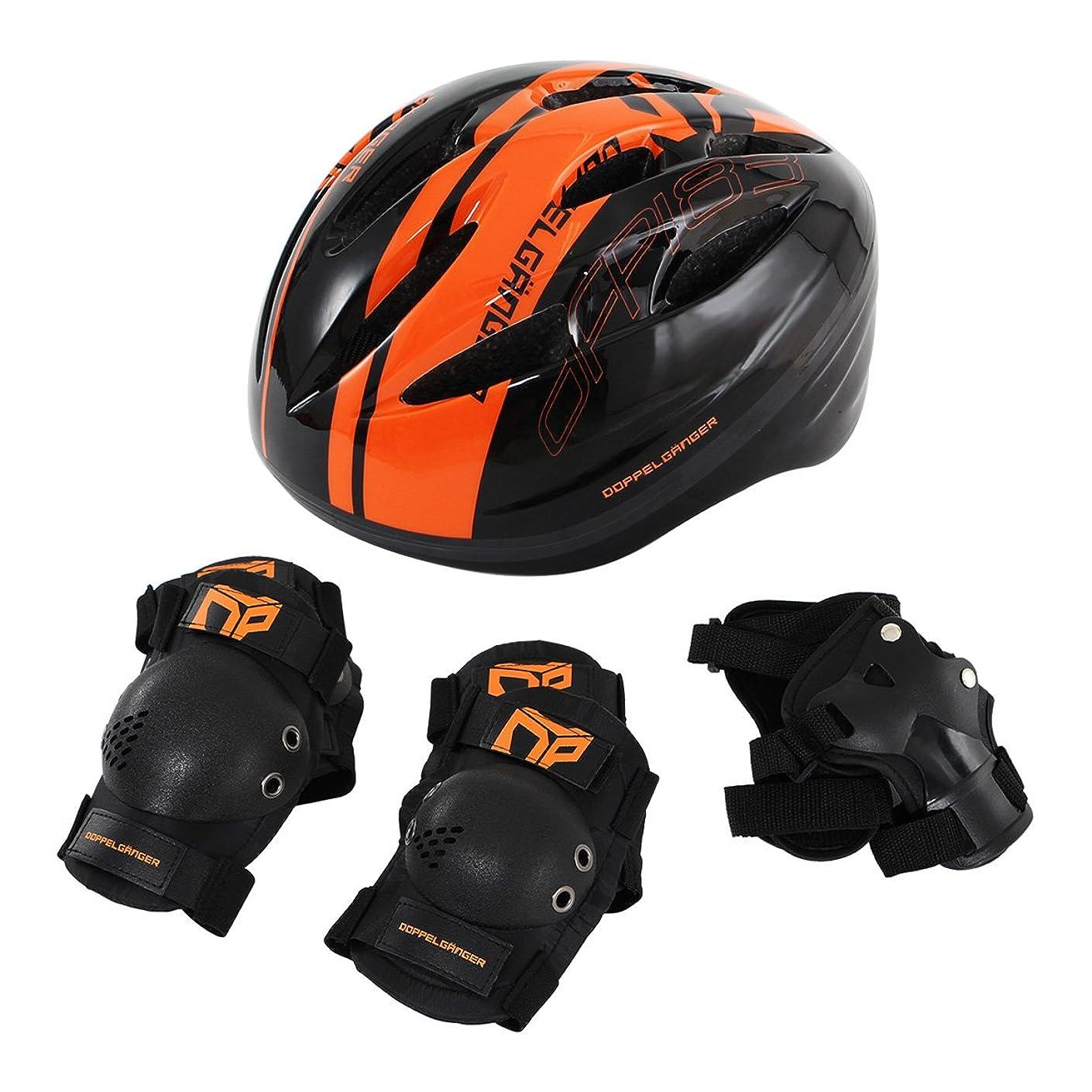 どちらもまたインタラクションDOPPELGANGER キッズヘルメットセット[ヘルメット?肘/膝/手首プロテクター4点セット] ヘルメット重量:約195g [対象年齢目安:3歳~8歳] 安全基準合格品/子供用自転車プロテクター DFP183-BK (頭囲 51cm~55cm未満)