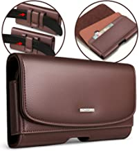 nuoku Samsung Galaxy S9 Holster Galaxy S8 S7 S6 S6 Edge Belt Pouch Clip Holster with ID Card for Samsung S9 S8 S6 S7 S6 Edge with Other Case On(Brown)