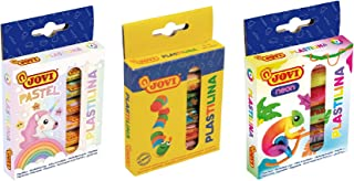 Jovi Plastilina Non=Drying Modeling Clay; 3-Pack Combo; 18 rolls of 0.5 ounce each, 9 total ounces; Basic, Pastel and Neon Colors