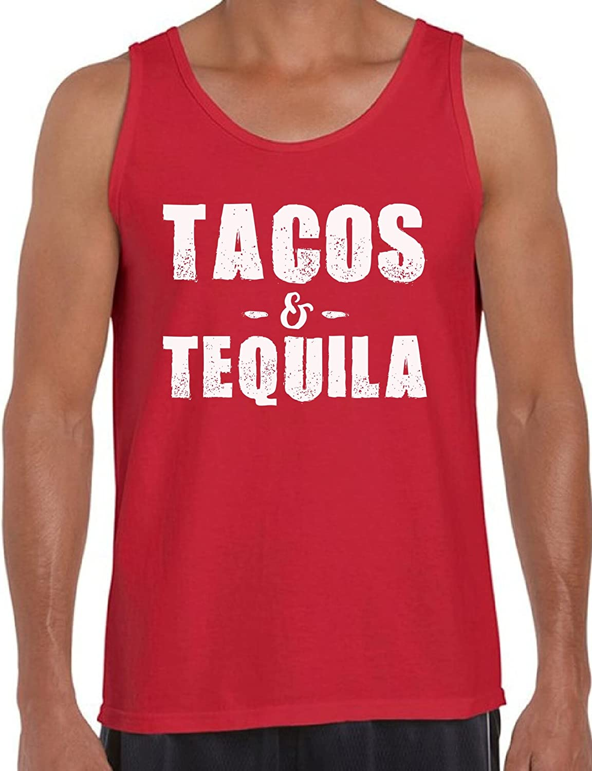 Awkward Styles Men's Tacos & Tequila Tank Tops White Mexican Vacation Funny Saying