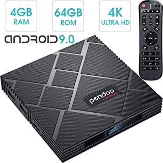 pendoo Android 9.0 TV Box 4GB RAM 64GB ROM, X10 MAX Android TV Box RK3318 Quad-Core 64Bits Dual WiFi 2.4G / 5G Bluetooth 3D 4K Ultra HD H.265 USB 3.0 Android Box