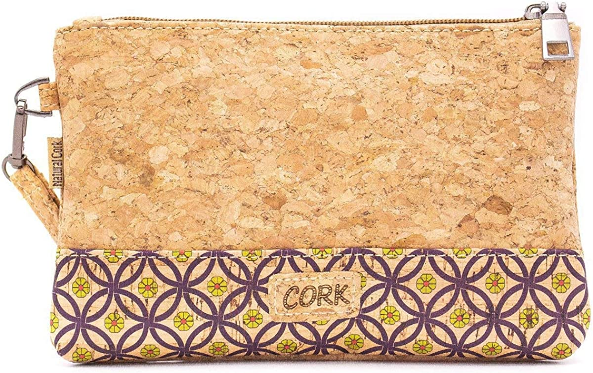 Natural Cork with Pattern Envelope Clutch Purse Vegan BAG-621-B