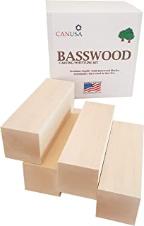 Premium Basswood Carving/Whittling Large Block KIT. 4 Large Pieces Suitable for Beginner to Expert. Unfinished Kiln Dried Whittling Blocks.