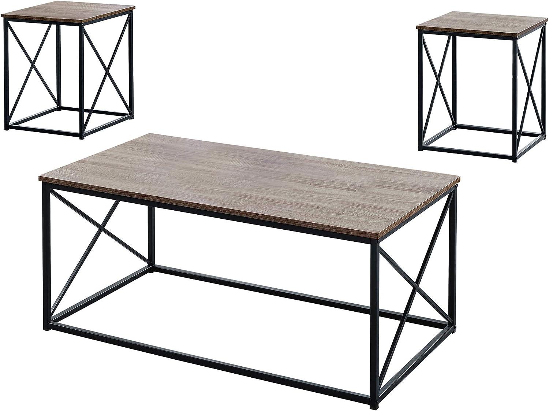 Ergode Table Set - 3PCS Outlet SALE Dark Taupe Omaha Mall Black Metal