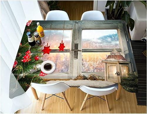 ZHAOXIANGXIANG Weißnachten Tischdecke Stilvolle Wohnkultur Polyester Tabelle Mat Digital Gedruckt Kreativ Tischdecke Cartoon Weißnachten Geschenke Pattern, 140 X 200 cm