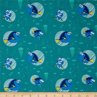 Camelot Fabrics Disney Finding Dory Faces Turquoise Fabric by The Yard