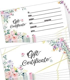 Set of 50 Floral Blank Certificates for Business Cards Client Custom Vouchers for Business, Beauty Salon, Restaurant, Wedd...